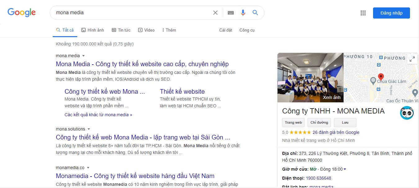 hiển thị thông tin trên Google